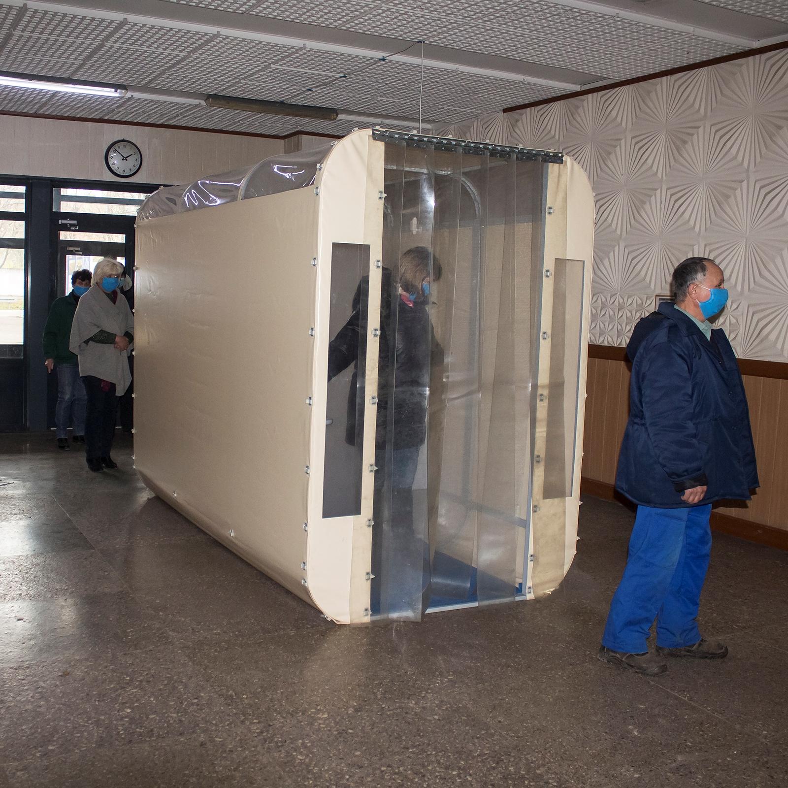 На Заводе «Фрегат» мы установили дезинфекционный коридор